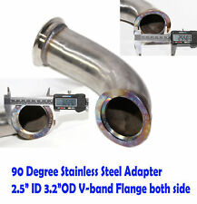 "Universal 90 Degree 2.5""ID V-band Flange Stainless Steel Elbow Adapter Downpipe"