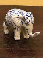 Vintage Hand Painted 4x3 Blue White Porcelain Floral Asian Elephant Figure