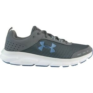 NIB Men Under Armour 3021952 103 Charged Assert 8 Grey/Blue Deluxe Foam Shoes