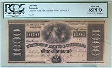 Original 1800's New Orleans Citizens Bank Louisiana $1000 Dollar PCGS 65PPQ Rare