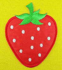 STRAWBERRY Red Sweet fruit biker girl Embroidered Iron/Sew on Patch / Free Ship