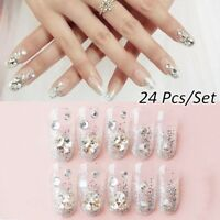 24pcs Acrylic Design French Nails Full Cover Nail Tips False Art Crystal Diamond