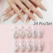 24pcs Acrylic Design French Nails Full Cover Nail Tips False Art Crystal Diamond