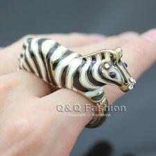 Vintage Gold 3D Zebra Black White Stripe Animal Double Finger Ring Fancy Dress