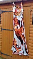 Unique Boutique Fire Print Exotic Halter Neck White Orange Maxi Dress 38 10 - 12