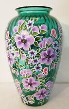 Purple Flowers & Butterflies Large Green Vase Hand Painted