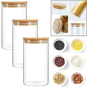 3pc Kitchen Glass Jar High quality Container Storage Airtight Bamboo Lids 900 ml