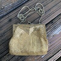 Vtg Gold Beaded Purse Magid Handbag Evening Bag Clutch 50s 60s Macau Hand Made