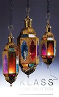 MOROCCAN HANGING MULTI COLOURED GLASS LANTERN TEA LIGHT CANDLE HOLDER HOME GIFT