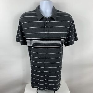 Old Navy Polo Shirt Men's XL Gray Striped Short Sleeve Golf Rugby 100% Cotton