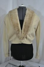 Lloyd's Furs VTG Cream Cashmere crop Sweater womens M Snapon MINK Fur Collar