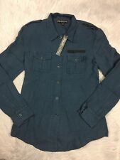 NWT Elizabeth And James Rumpled New Bedford Jacket Shirt Military Blue Sz M