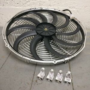 1948 Ford Deluxe 16 Inch Chrome Radiator Fan cooling electric racing skinny