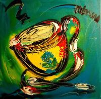 coffee time  by Mark Kazav  Abstract Modern CANVAS Original Oil Painting TIFJBK