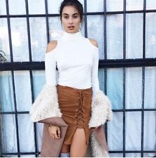 LF stores rumor cream turtleneck cut out-shoulder cabel knit crop sweater NWT s