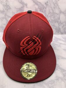 New Era Spider-Man 59fifty Custom Fitted Hat Size 7 3/8 Marvel Comics Red