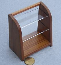 1:12 Scale Wide Dark Wooden Counter Display Unit With Two Shelves Dolls House T