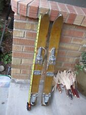 "Vintage Wooden Trick Skis Only 34"" Long Stunt Shorty Homemade Antique Youth Kids"