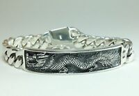 "8"" 113g HEAVY CUBAN CURB CHAIN LINK DRAGON ID STERLING SILVER 925 MENS BRACELET"