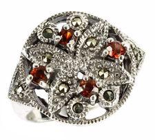 925 ECHT SILBER *** Großer Granat Markasit Ring, Gr. 56, 62