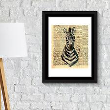 Wall Decoration Frames Zebra Newspaper Animal Poster Art Office Home Décor