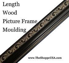 "17' Imported 1 1/4"" Wide Black Ornate Wood Picture Frame Moulding"
