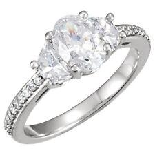 1.61 ct Oval Shape & Half Moon Cut Diamond Wedding 3 Stone Ring 14k White Gold
