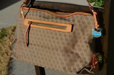 Dooney Bourke large signature canvas fabric purse handbag satchel leather accent