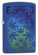 Zippo 5916, Weed-Marijuana-Pot Leaf, Royal Blue Matte Finish Lighter, Full Size