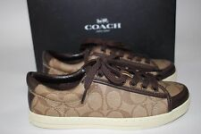 NIB COACH Size 9.5 Women's Khaki SIG C Chestnut Nappa Leather PERCY Tennis Shoe