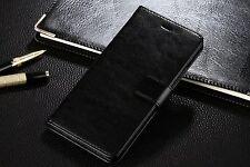 Libro Negro De Cuero PU Billetera Abatible De pie Estuche Cubierta Para Huawei P9 Lite ranuras para tarjetas