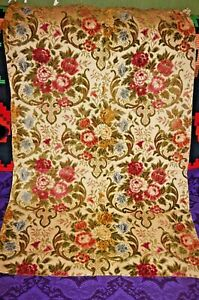 Vintage pink green yellow blue cream upholstery cut velvet floral fabric
