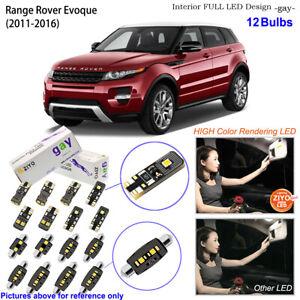12 Bulbs Deluxe LED Interior Dome Light Kit Xenon White For Range Rover Evoque