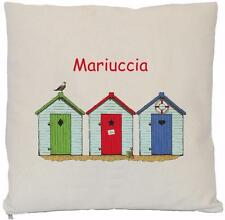 """Personalised - Beach Huts - Natural Cotton Cushion Cover 16"""" (NOT CUSHION)"""