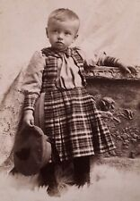 1890's Cabinet Card Photo CUTE YOUNG BOY IN PLAID DRESS Amsterdam New York