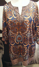 Papaya Blue Brown Multi Kaftan / Holiday Dress / Top / Cover Up / Tunic Size 20
