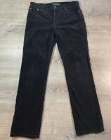 Ralph Lauren Polo Jeans Women's Size 8 Black Corduroy Mid Rise Pants