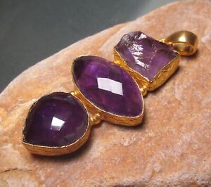 Gold plated brass cut  & rough amethyst chunky pendant. Gift Bag.