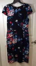 Besty Johnson Woman's Size Sheath Dress Black Floral Cap Sleeves NWOT
