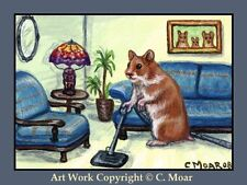 HAMSTER HOMEMAKERS Vacuuming ACEO Art Limited Edition Sketch Card Print