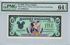 Disney Dollar 1990 Goofy $5 D00000226A PMG 64 EPQ Choice Unc