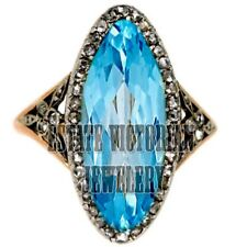Antique Finish 2.65cts Rose Cut Diamond Blue Topaz Silver Amazingly Ring Jewelry