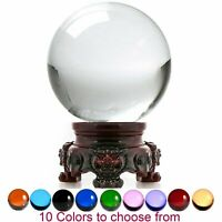 Crystal Ball Sphere for Feng Shui, Meditation, Decor, with Red Lion Stand
