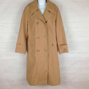 Misty Harbor women size 14 solid beige collared zip pocket rain trench coat USA