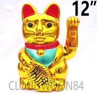 """Chinese Lucky Cat Waving Arm Good Luck 6""""-12"""" Feng Shui Japanese Maneki Neko"""