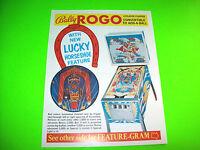 Bally ROGO 1973 Original Vintage Pinball Machine Flipper Game Promo Sales Flyer
