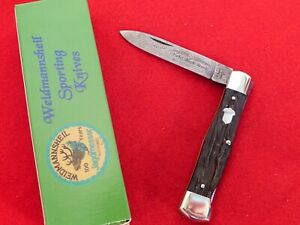 Weidmannsheil Germany mint in box root beer stag Damascus coffin lockback knife