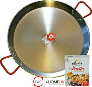 PAELLA PAN 46cm - 65cm PROFESSIONAL POLISHED STEEL PAN + AUTHENTIC PAELLA GIFT