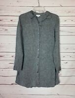 J.Jill Women's S Small Black Gray 100% Linen Long Sleeve Button Spring Tunic Top