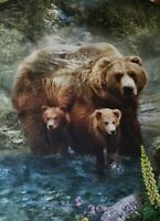 New Hoffman Call Of The Wild Grizzly Bears Digital Print Fabric Panel Quilting